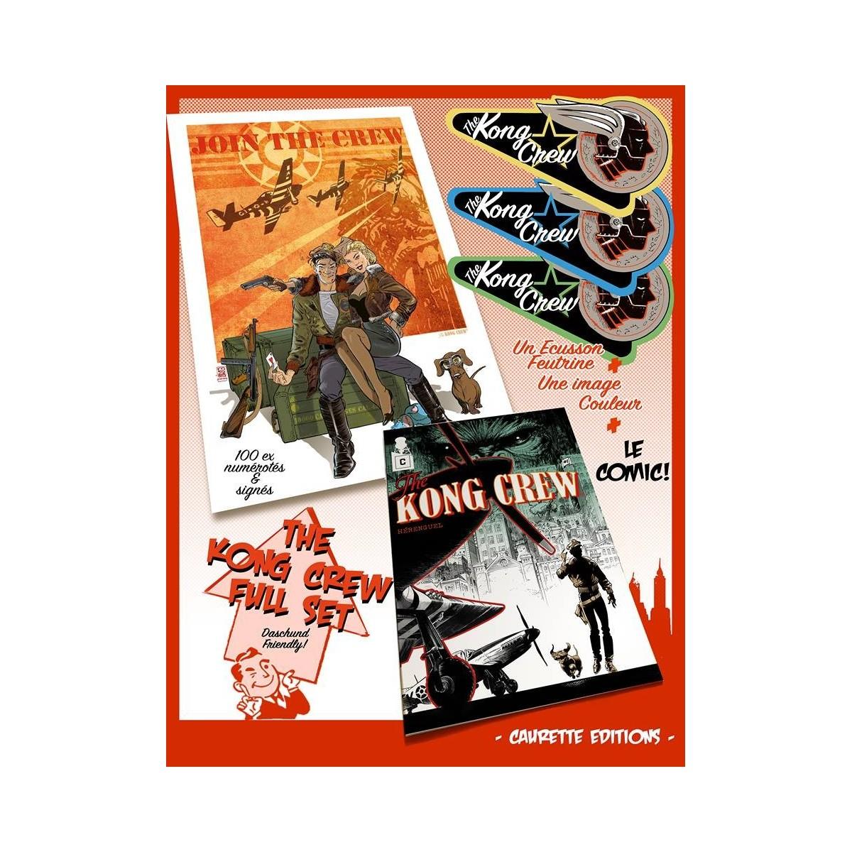 PACK - The KONG CREW - comic + écusson + print (signé et numéroté) - Eric Hérenguel