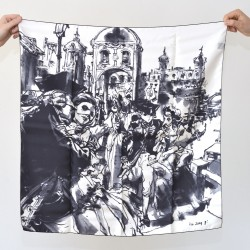 Kim Jung Gi - Foulard en soie de Lyon - Edition limitée