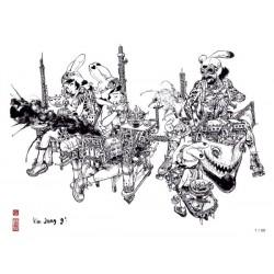 Kim Jung Gi - Ex-libris 'Team Spirit' - 30 x 40 cm - Signé & Numéroté (99 ex.)
