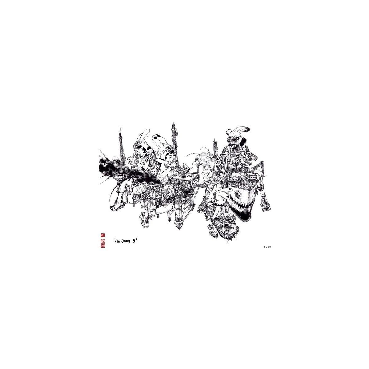 Kim Jung Gi - Ex-libris 'Lunch Time' - 30 x 40 cm - Signé & Numéroté (99 ex.)