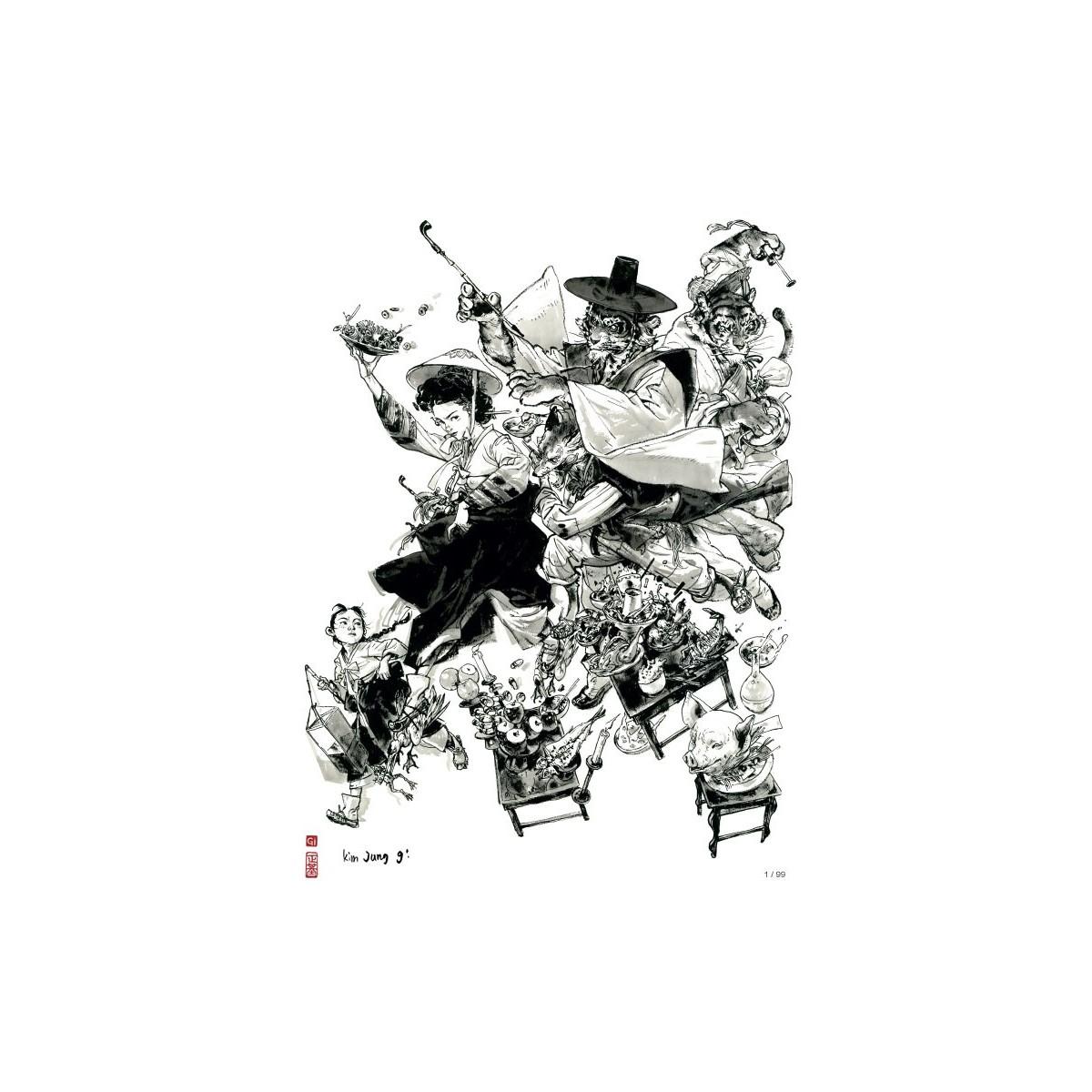 Kim Jung Gi - Ex-libris 'Bon appétit' - 30 x 40 cm - Signé & Numéroté (99 ex.)
