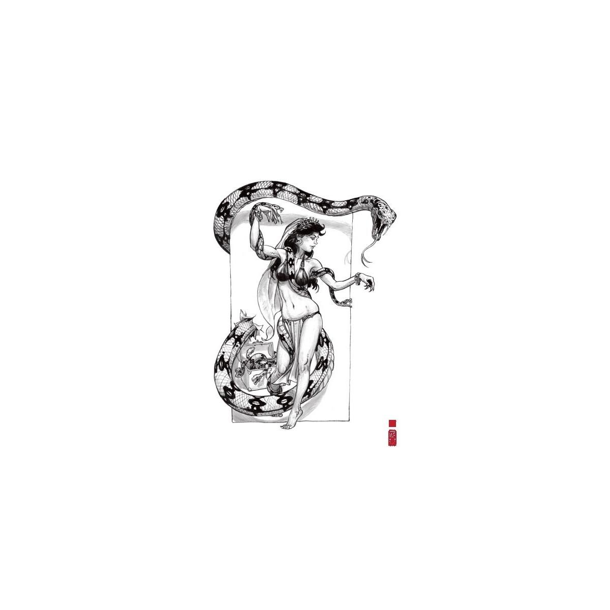 Ex-libris 'Snake Dance' 20x30 cm - Signé & Numéroté (149 ex.)