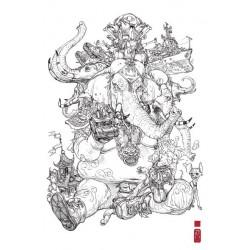 Ex-libris 'Elephantastic' 20x30 cm - Signé & Numéroté (149 ex.)